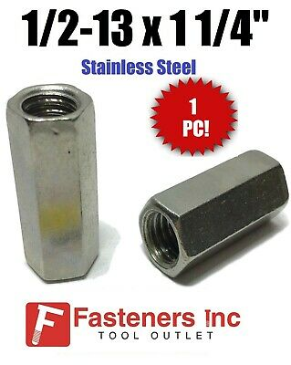"(Qty 1) 1/2""-13 x W5/8"" x L1-1/4"" Stainless Steel Threaded Rod Coupling Nuts"