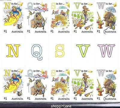 2016 Australia Fair Dinkum Aussie Alphabet Part 1 - $1 gutter strip of 10 - MNH