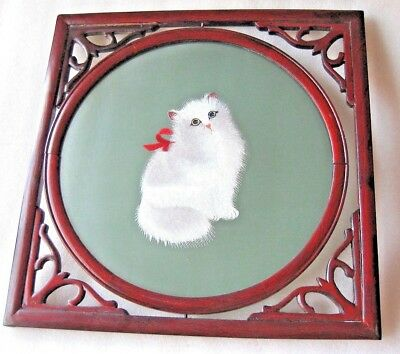 """GORGEOUS  DOUBLE SIDES"""" WHITE CAT """" lge SILK SU EMBROIDERED MIB"""