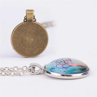 Vintage Cat with French Horn Cabochon Glass Bronze Chain Pendant  Necklace