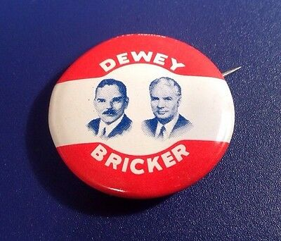 1944 Dewey Bricker Political Presidential Candidate Republican Party Pin (J41)
