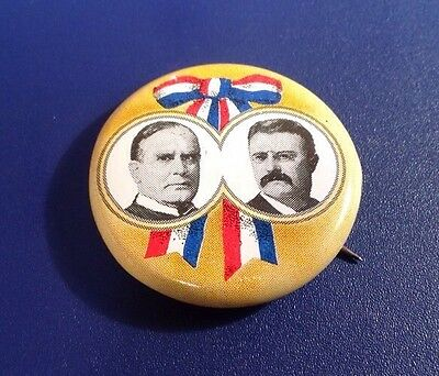 """Reproduction """"McKinley & Roosevelt"""" Campaign Pin Tin Litho 1900 (J53)"""