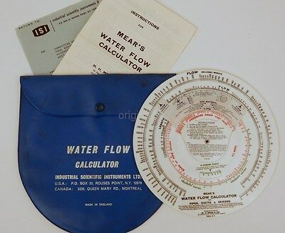 MEAR's Water Flow Calculator & instructions PIPE ducts SEWERS Open Channels