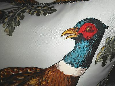 Designer Throw pillows printed 100% silk fabric Pheasant birds Custom new PAIR