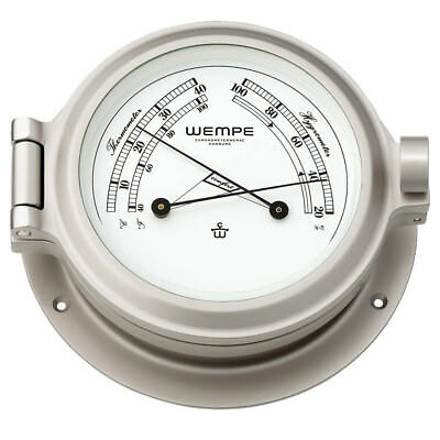 Wempe Chronometer Comfortmeter Nautik Nickel Ø 120mm - Thermometer Hygrometer