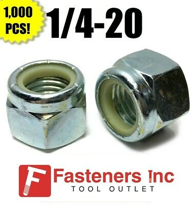 (Qty 1000) 1/4-20 Nylon Insert Lock Nuts Nylock Zinc Plated (1,000 Pieces Total)