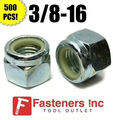 (Qty 500) 3/8-16 Nylon Insert Lock Nuts Nylock Zinc Plated (500 Pieces Total)