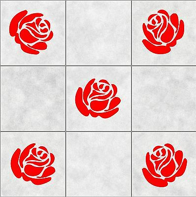 18 ROSE FLOWER roses tile stickers BATHROOM  WALL ART  DECOR DECAL KITCHEN