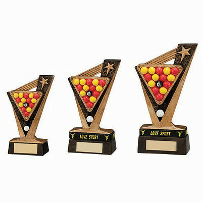 Pool Trophies Resin Victory Pool Triangle Award 3 Sizes FREE Engraving