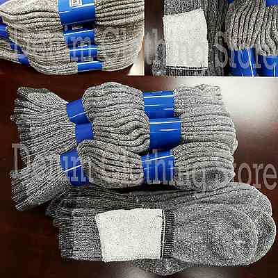 4~12 pairs Men Crew Cotton Terry Socks Gray Warm Thermal Sport Hiking Camp 9~11