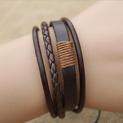 Fashion Retro Multilayer Leather Wristband Bracelet Cuff Bangle Men Women New