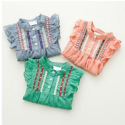 Lovely Baby Kid Girl Long Sleeve Shirt Ruffle Loose T-shirts Tops Blouse Clothes