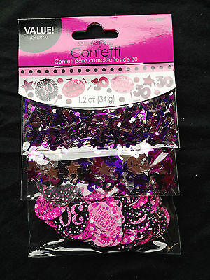 30th Birthday Confetti Table Decoration Sprinkle Black Pink Purple Age 30 Party