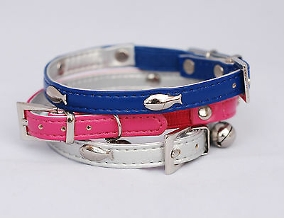 Designer Cat Collar PU Leather with fish - Safety Elastic and Bell - Freepost