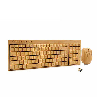 Handmade 2.4GHz Wireless USB Receiver Bamboo Wood Keyboard With Mouse Mice Kits