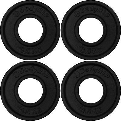 """BodyRip Cast Iron 2"""" Olympic Fraction Weight Plates 4 x 0.5kg Discs Low Weights"""
