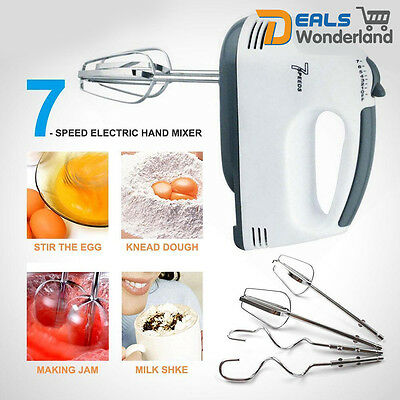 7 Speed Kitchen Electric Hand Mixer Egg Beaters Whisk Whipper Blender Dough Hook