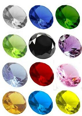 Crystal Diamond Shape Paperweight Glass Gem Display Ornament Home Display Office