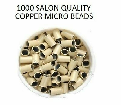 1000 Blonde Copper Micro Tubes Rings 3.5 x 3 x 6mm Links for Hair Extensions
