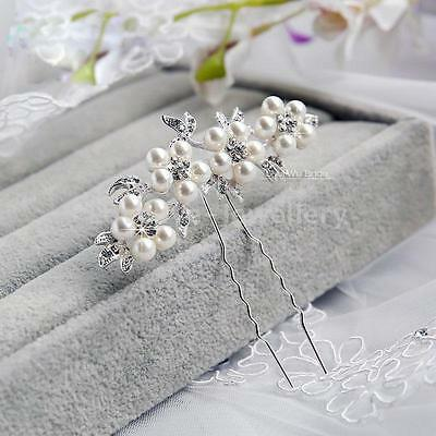 Wedding Crystal Pearl Flower Hair Pins Elegant Bridal Bridesmaid Veil Jewelry