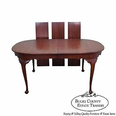 Henkel Harris Solid Cherry Queen Anne Dining Table w/ 3 Leaves