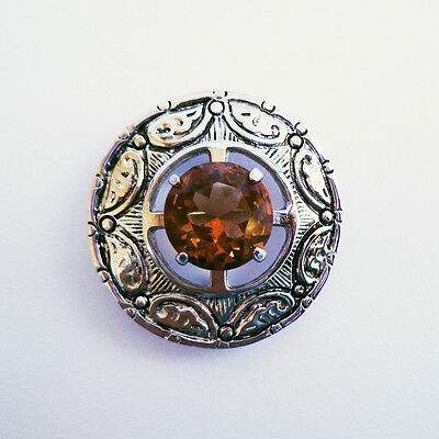 Silver Celtic Fibula Brooch Scottish Pin & Citrine Tartan Sash Kilt Pin Brooch