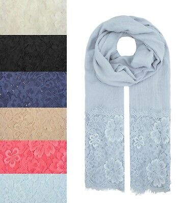 Women Ladies Fashion Scarf Wrap Chiffon with Flower Floral Lace Long Soft Light