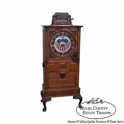 The Dewey Antique Oak Upright 5 Cent Nickle Slot Machine