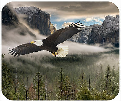 Mouse Pad Custom Thick Mousepad - Bald Eagle In Yosemite Valley-Any Text Free