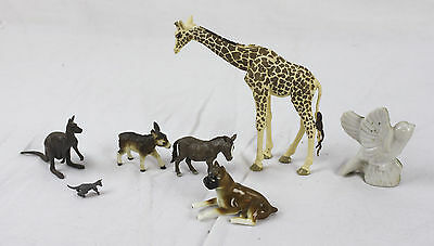 Lot of 7 Vintage Animal Figurines Toys Kangaroo Giraffe Burro Ceramic & Plastic