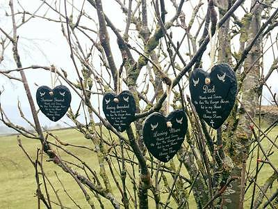 Engraved Always There Slate Heart Memorial Tree Gravemaker  Funeral Stone