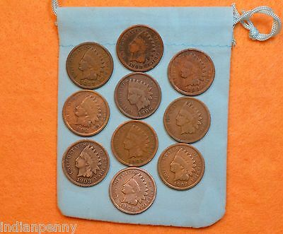 Lot Of 10 Vintage Indian Head Penny 1 Cent US Coins 1880-1908 * SHIPS FREE *