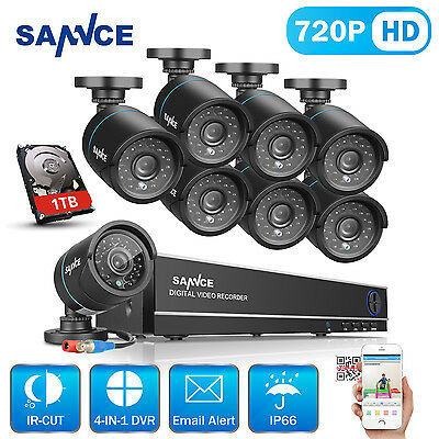 SANNCE 1080N HD 8CH DVR 8x 720P 1500TVL Outdoor Cameras Home Security System 1TB