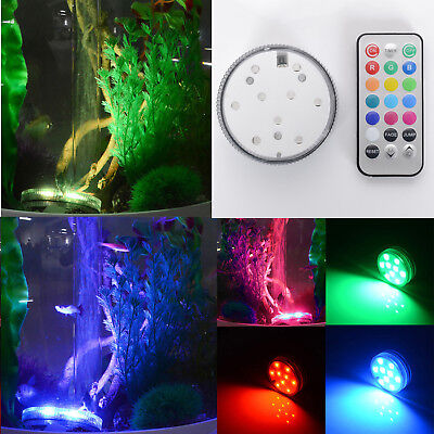 10 Led RGB Light Submersible Waterproof Party Vase Base Decor + Remote Control