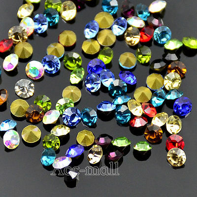 ss4-ss28 facefed mix colors Top Quality Czech Crystal Rhinestones Pointed Back