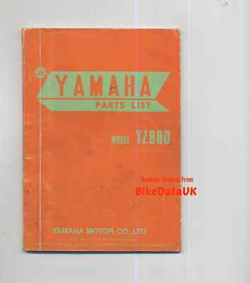 Yamaha YZ80 1976-on Illustrated Parts List Catalogue Book YZ 80 D 1T0 Twin-Shock