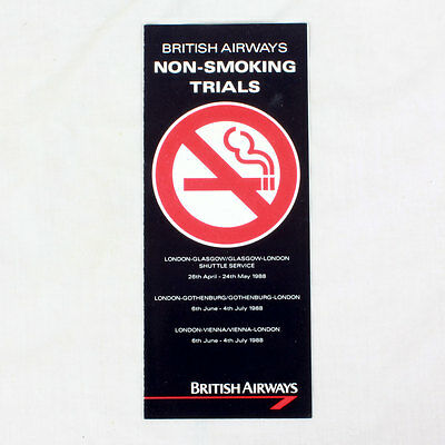 British Airways - Fluglinie Werbe Flieger - Nicht Smoking Trials - 1988