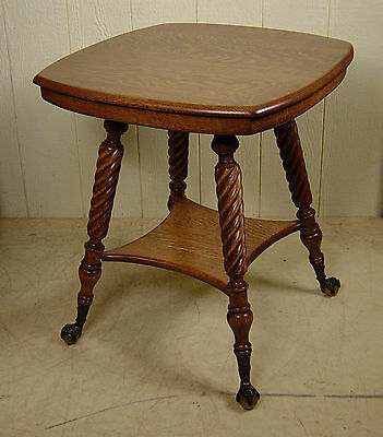 Antique Oak Lamp Table with rope turned legs and ball and claw feet