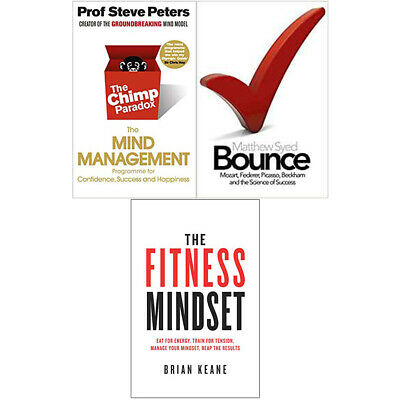 Fitness Mindset,Bounce and The Chimp Paradox 3 Books Collection Set New BRAND UK