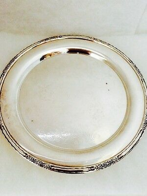 """Vintage International Silverplate 11"""" Round Tray Signed Camille 6070 Etched"""