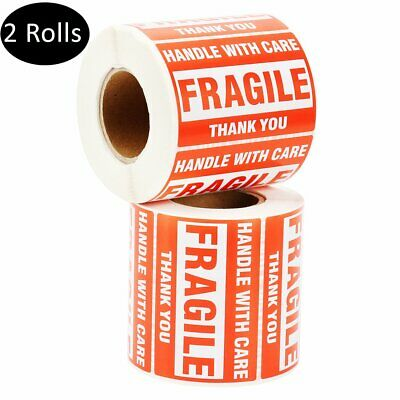 2 Rolls 2x3 Fragile Stickers Handle with Care Thank You Mailing Labels 500/Roll