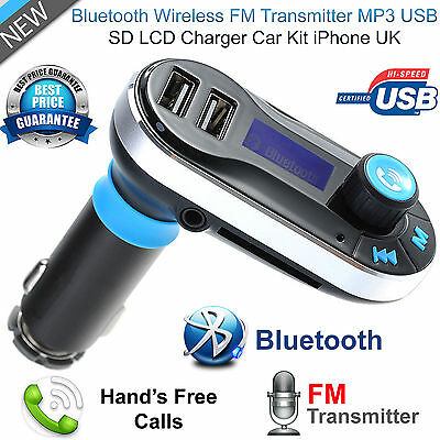 Bluetooth Handsfree Car Kit FM MP3 Transmitter SD Dual USB Charger For Phones