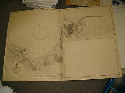 Vintage Admiralty Chart 1912 AFRICA - TANGIER BAY & TANGIER HARBOUR 1936 edn