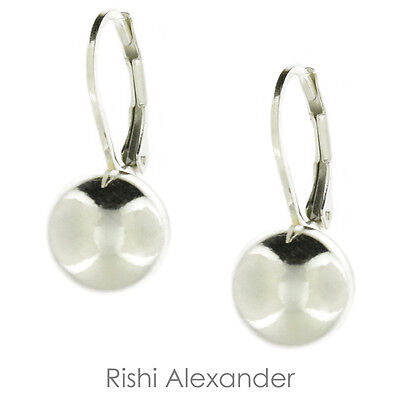 925 Sterling Silver Round Ball High Polished Leverback Drop Earrings