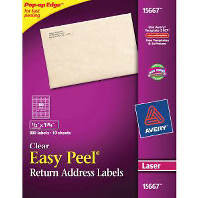 """Avery 15667 1/2"""" x 1 3/4"""" Clear Address Labels. 800 Labels 10 Sheets (Laser)"""