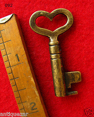 Exceptionally Rare Brass Edition GENUINE Heart Shaped Bow Antique Skeleton Key