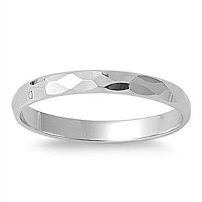 925 Sterling Silver Faceted Diamond Cut Band Ring 2 mm Wide