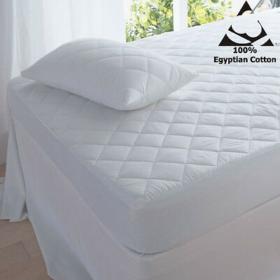 Egyptian Cotton 200 Thread Count Luxury Quilted Mattress Protectors Pillow cases