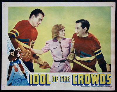 Idol Of The Crowds John Wayne With Ice Hockey Stick 1937 Lobby Card