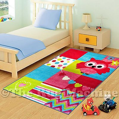 COOL OWL PATCHWORK GIRLS KIDS FUN PLAY RUG 100X150cm NON-SLIP & WASHABLE **NEW**